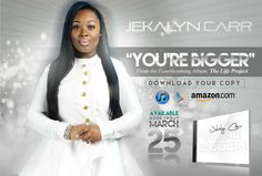 "JEKALYN CARR – The Good Friday Release of – YOU'RE BIGGER – Now Available !!! / ""You're Bigger,"" is impacting radio & is poised to be one of the biggest songs of 2016! Now available for download on digital outlets today!"
