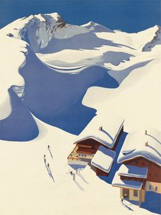Austria, Ski Lodge in the Alps. Celebrated designer Erich von Wunschheim designed this 1937 travel poster, Austria, Ski Lodge in the Alps, for the Austrian tourism board. Free Vintage Posters, Vintage Travel Posters, Poster Vintage, Painting Prints, Canvas Prints, Art Prints, Paintings, Ski Vintage, Vintage Gifts