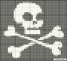 Minna's Doll World - Minnan nukkemaailma: Cross stitch pattern skull - Ristipistomalli pääkallo