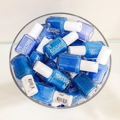 You can never have too many essie blue nail polishes. How do you store yours?