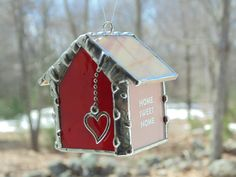 New house suncatcher ornament, little red house warming gift, new house owner gift, stained glass, home sweet home, Christmas ornament - pinned by pin4etsy.com