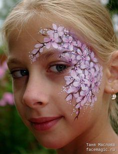 Sakura branch. Face paint by Tanya Maslova.