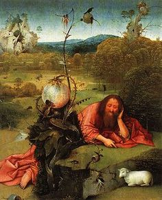 St. John the Baptist in the Wilderness - Hieronymus Bosch.  c.1489.  Oil on panel.  48.5 x 40 cm.  Museo Lazaro Galdiano, Madrid, Spain.