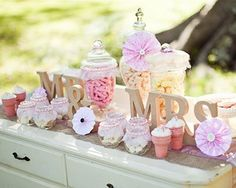 Loving shabby chic right now. The perfect look for a wedding dessert buffet table.  #wedding #dessert #buffet #table