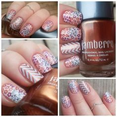 Harvest Bloom wrap, Copper Penny lacquer with White Chevron wrap #HarvestBloomJN #CopperPennyJN #WhiteChevronJN  www.michellesnavely.jamberrynails.net