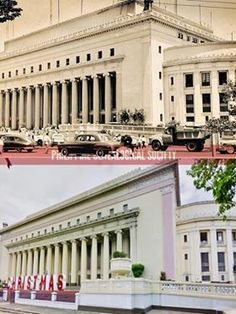 Dito, Noon: Manila Central Post Office, circa 1950s x 2018 #kasaysayan -- The Manila Central Post Office was located by Daniel Burnham at the foot of Jones Bridge for its accessibility to the river transport routes. The original building was designed by Juan M. Arellano and Tomás Mapúa and completed in 1928. It suffered damage during the Battle of Manila in 1945. Daniel Burnham, Present Day, Post Office, Manila, Philippines, 1950s, Battle, Bridge, River