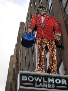 Bowlmor Lanes Neon Bowling Alley Man... New York Times Building on 44th Street between 8th Avenue and Times Square in New York City