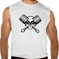 Mechanic Skull: Crossed Pistons Sleeveless Tees Tank Tops