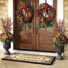 We have double doors & I struggle for decor. This is gorgeous. Just change the colors with the seasons. AND this site is filled with beauty, check it out!