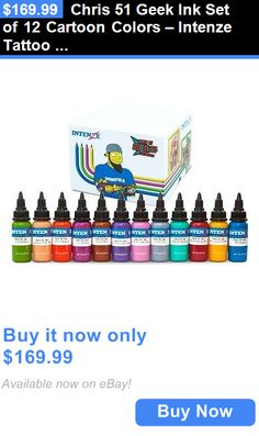 Tattoo Inks: Chris 51 Geek Ink Set Of 12 Cartoon Colors – Intenze Tattoo Ink – 1Oz Bottles BUY IT NOW ONLY: $169.99