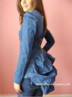 Betsey-Johnson-Denim-Bustle-Jacket-Top-Coat-Jean-Lace-Up-2-4-6