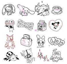 Doodle Tattoo, Tattoo Drawings, Cute Drawings, Anime Tattoos, Girl Tattoos, Tatoos, Grunge Tattoo, Black Girls With Tattoos, Spooky Tattoos