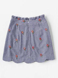 Ruffle Waist Zip Back Scallop Hem Embroidered Gingham Skirt