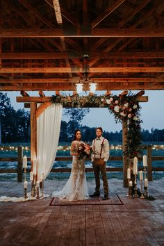 This rustic fall wedding at The Farmstead had the perfect evening ceremony. The moody vibe was captured perfectly by Aly Barnett Photography.