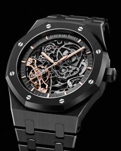 For the first time, the Royal Oak Double Balance Wheel Openworked presents a black ceramic case and bracelet. A powerful blend of traditional savoir-faire and cutting edge technology. Ref.15416CE.OO.1225CE.01 #AudemarsPiguet #RoyalOak Audemars Piguet Royal Oak, Skeleton Watches, Casio Watch, Watches For Men, Accessories, Presents, Black, Bracelet, Technology