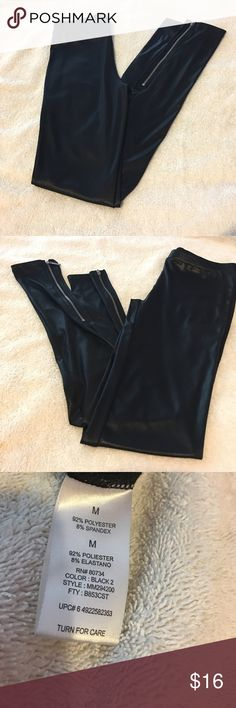 Miley Cyrus leather leggings Like New Miley Cyrus Black leather leggings with zipper on the bottom, as shown on pictures. Pants Leggings