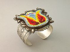 Beaded Tulip Design on Sterling Silver Cuff Bracelet by JT Willie (Navajo)