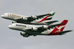 The First time two Different Airlines have flown in Formation - Emirates & Qantas - Photo: Bernard Proctor Qantas A380, Qantas Airlines, Hainan Airlines, Cargo Airlines, Airbus A380, Boeing 777, A380 Aircraft, Jet Plane, Outer Space