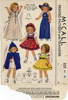 ORIGINAL Doll Clothes PATTERN 525 for 16 in Shirley Temple Judy Garland by Ideal
