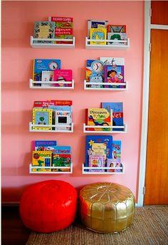 ikea bevkam spice racks as bookshelves