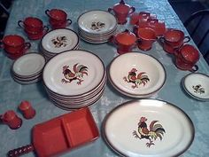 Red Rooster Poppytrail Dinnerware | Details about Metlox Poppytrail dinnerware set, Red Rooster 56 Pieces!