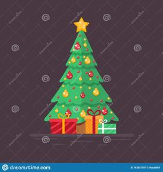 Illustration about Decorated Christmas tree with gifts. Design for decoration poster, postcard. Flat vector in EPS format. Illustration of decoration, annotation, tree - 163621597 Christmas Tree With Gifts, Christmas Tree Decorations, Holiday Decor, Winter Collection, Illustration, Poster, Design, Xmas Tree Decorations, Illustrations