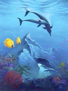 Angel Fish and Dolphins by Joe Sambataro 28843