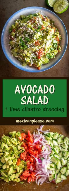 Here's a delicious avocado salad recipe that only takes 10 minutes to make. Be sure to season each avocado with teaspoon of salt. Avocado Salad Recipes, Healthy Salad Recipes, Vegetarian Recipes, Delicious Recipes, Vegetarian Salad, Detox Recipes, Yummy Food, Easy Salads, Summer Salads