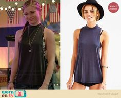 Amy's black mock neck tank top on Faking It.  Outfit Details: http://wornontv.net/37737/ #FakingIt