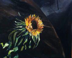Sunflower catches light oil painting 50 x 60 cm by NancyvandenBoom, €250.00