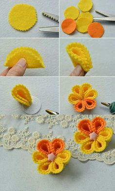 Half circle yellow, half orange instead Do you want to make this yellow brooch flower jewelry Ideas, Craft Ideas on flower jewelry Rainbow's Crafts and Creations: How to Make Simple Felt Flowers Pandahall Learning Center provides jewelry craft tutori Cloth Flowers, Felt Flowers, Diy Flowers, Fabric Flowers, Paper Flowers, Tissue Flowers, Felt Diy, Felt Crafts, Fabric Crafts