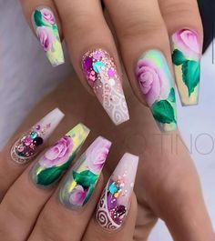 Give your nails a spin with eye-catching flower nail designs with roses. Experiment with cheery spring nail designs. Go through our nail art with roses step by step instructions here. For that extra p Glam Nails, Fancy Nails, Bling Nails, Beauty Nails, Beautiful Nail Designs, Cute Nail Designs, Beautiful Nail Art, Flower Nail Designs, Flower Nail Art
