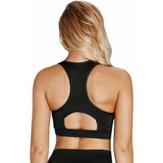 469eaa5371 White Scoop Neck Hollow-out Back Sport Bra Top Black (White Scoop Neck  Hollow
