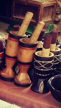 AFRICAN WOODEN GRINDER Material:  Light and Dark Wood  Made in South Africa.