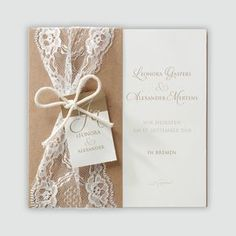Stylish wedding invitation in a wrapping paper with lace - Hochzeit Grey Wedding Stationery, Elegant Wedding Invitations, Wedding Invitation Templates, Invitation Paper, Fall Wedding, Rustic Wedding, Our Wedding, Budget Wedding, Wedding Rings