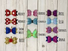 Etsy shop feature: Buns and Braids hair bows - Disney in your Day Lots of Etsy shops make some great Disney inspired stuff, and if you're looking for Disney hair bows be sure to check out Buns and Braids! Disney Princess Hairstyles, Princess Hair Bows, Girl Hair Bows, Girls Bows, Bows For Hair, Halloween Hair Bows, Christmas Hair Bows, Disney Hair Bows, Felt Bows