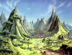 Picture by Rodney Matthews Fantasy Concept Art, Sci Fi Fantasy, Fantasy World, Fantasy Paintings, Fantasy Artwork, Fantasy Village, Nostalgia Art, Bilal, 70s Sci Fi Art