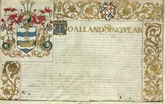 [CHARLES II -- THE ROYAL FISHING]. Letters patent issued by Sir Edward Walker, Garter King of Arms, 13 December 1664, grant of arms to the '...