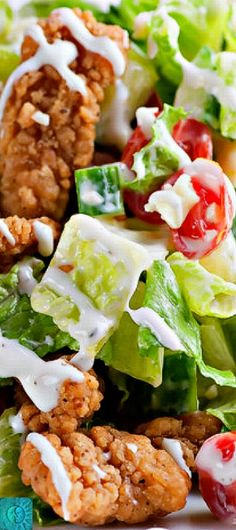 A box of Kentucky Fried Chicken popcorn chicken nuggets makes this shortcut fried chicken salad recipe both super easy and super delicious! Fried Chicken Salads, Chicken Salad Recipes, Salad Chicken, Recipe Chicken, Chicken Pasta, Chicken Sandwich, Taco Salat, Greens Recipe, How To Make Salad