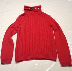 Gymboree Winter Cheer Red Turtleneck Cable Knit Sweater 7/8 Pom Poms Neckline #Gymboree #ChristmasDressyEverydayHoliday