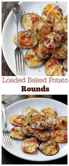 Loaded Baked Potato Rounds - Thinly sliced potato rounds topped with bacon and cheese.