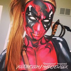 """Female #deadpool tutorial TONIGHT on @youtube .com/MadeYewLook! My eyeballs are edited white, as my white contacts cracked () Taken on my phone, I'll have a better photo later! "" Photo taken by @creativeboss on Instagram, pinned via the InstaPin iOS App! http://www.instapinapp.com (03/18/2015)"