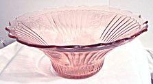 "Depression Glass - Anchor Hocking - Mayfair / Open Rose - Pink Hat Fruit Bowl - 12"""