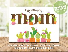 Cactus Mother's Day Card - Mother's Day Printable - Succulents Card for Mom - Mom's Day - Happy Mother's Day - Gifts for Mom, Gifts for Mum Mothers Day Cards, Happy Mothers Day, Mother's Day Printables, Mother's Day Greeting Cards, Pastel Flowers, Mom Day, Gifts For Mum, Cactus, Succulents