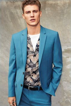 Mikkel Jensen sports a colorful suit for River Island's spring-summer 2017 campaign.