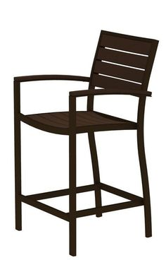 Polywood A201-16MA Euro Counter Arm Chair in Textured Bronze Aluminum Frame / Mahogany