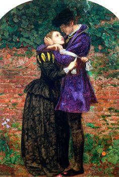 John Everett Millais - A Huguenot, on St. Bartholomew's Day, Refusing to Shield Himself from Danger by Wearing the Roman Catholic Badge (1852)