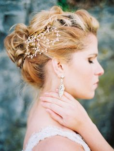 Braid Wedding Hair Updos with Little Pearl Hair Comb