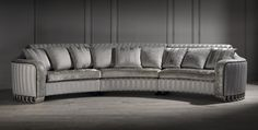 silver curved sofa, luxury curved sofa, unusual sofa, large sofa