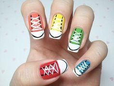 Acrylic Nail Designs 2016 - We are going to share here a Collection of Different Acrylic Nail Designs 2015 here. Check out how to take off acrylic nails Nail Designs 2015, Cute Easy Nail Designs, Nail Polish Designs, Acrylic Nail Designs, Nails Design, Converse Nails, Shoe Nails, Converse Shoes, Converse Style